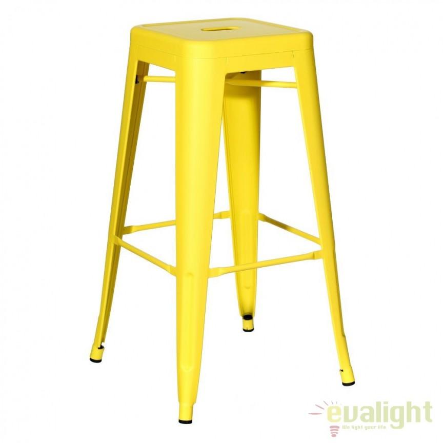Set de 2 scaune bar design industrial DALLAS H76,5cm galben SX-79211, Scaune de bar, Corpuri de iluminat, lustre, aplice, veioze, lampadare, plafoniere. Mobilier si decoratiuni, oglinzi, scaune, fotolii. Oferte speciale iluminat interior si exterior. Livram in toata tara.  a