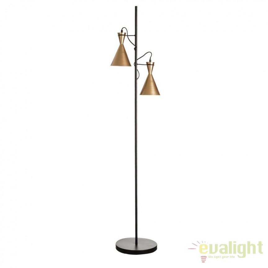 Lampa de podea din metal auriu si negru Awilda SX-102456, Lampadare, Corpuri de iluminat, lustre, aplice, veioze, lampadare, plafoniere. Mobilier si decoratiuni, oglinzi, scaune, fotolii. Oferte speciale iluminat interior si exterior. Livram in toata tara.  a