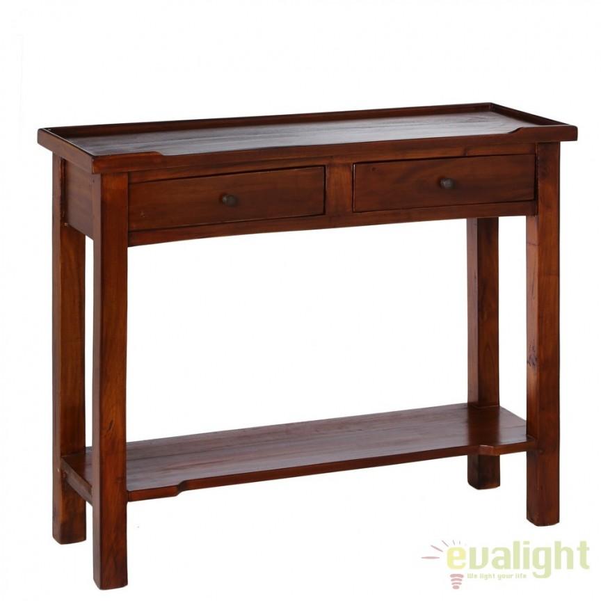Consola 2 sertare design clasic din lemn de mahon Caoba SX-78355, Console - Birouri, Corpuri de iluminat, lustre, aplice, veioze, lampadare, plafoniere. Mobilier si decoratiuni, oglinzi, scaune, fotolii. Oferte speciale iluminat interior si exterior. Livram in toata tara.  a