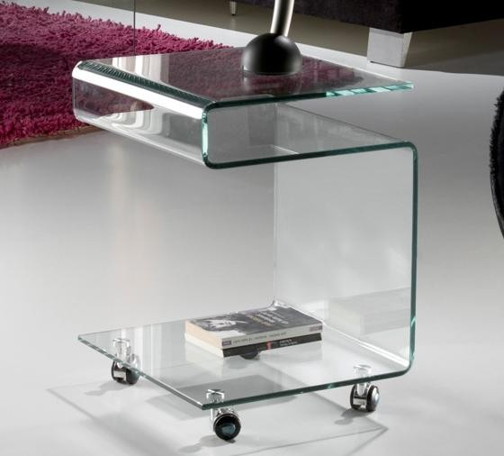 Masa din sticla curbata cu rotile -Clear side table- Glass 552522, Mobila si Decoratiuni,  a