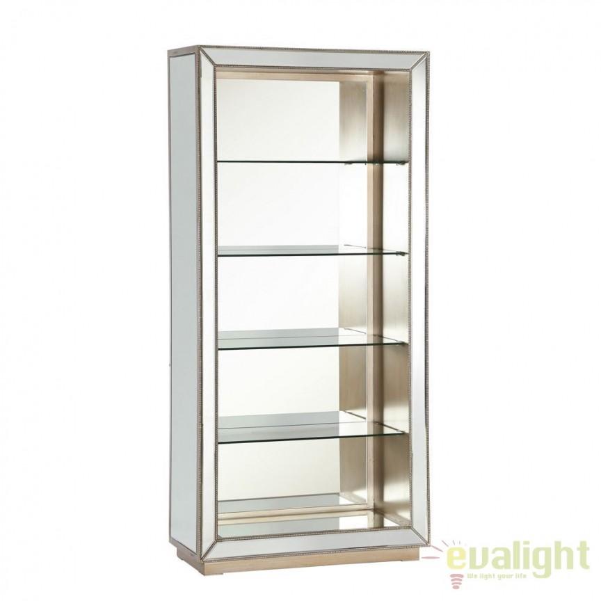 Raft design LUX din lemn argintiu placat cu oglinda, PLATA DZ-90858, Vitrine - Rafturi, Corpuri de iluminat, lustre, aplice, veioze, lampadare, plafoniere. Mobilier si decoratiuni, oglinzi, scaune, fotolii. Oferte speciale iluminat interior si exterior. Livram in toata tara.  a