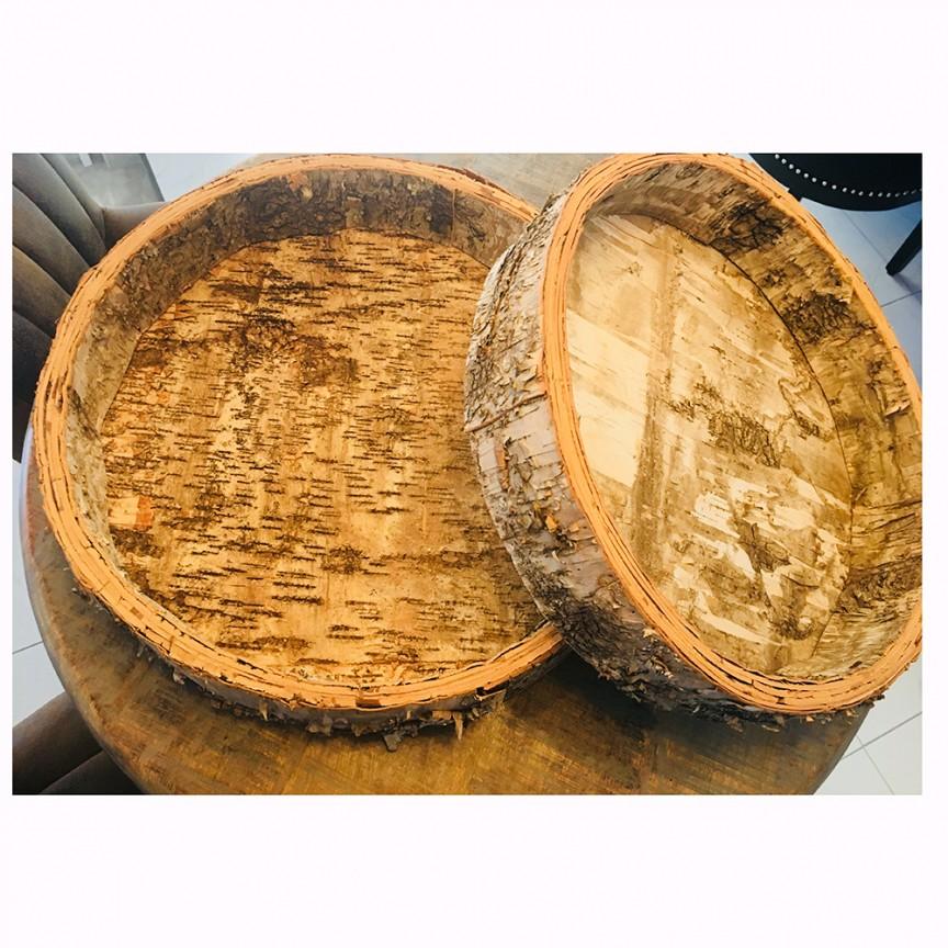 Set 2 vase decorative din lemn Bowl birch round S0418, PROMOTII,  a