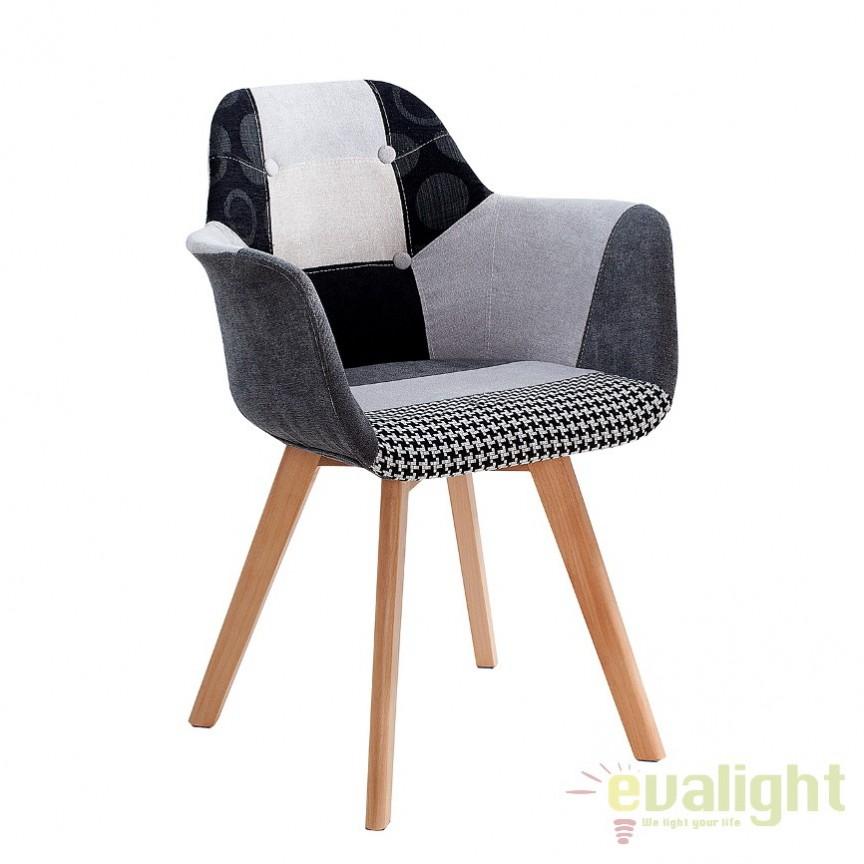 Set de 2 scaune tapitate cu tesatura Kopenhagen, patchwork A-37550 VC, Seturi scaune dining, scaune HoReCa, Corpuri de iluminat, lustre, aplice, veioze, lampadare, plafoniere. Mobilier si decoratiuni, oglinzi, scaune, fotolii. Oferte speciale iluminat interior si exterior. Livram in toata tara.  a