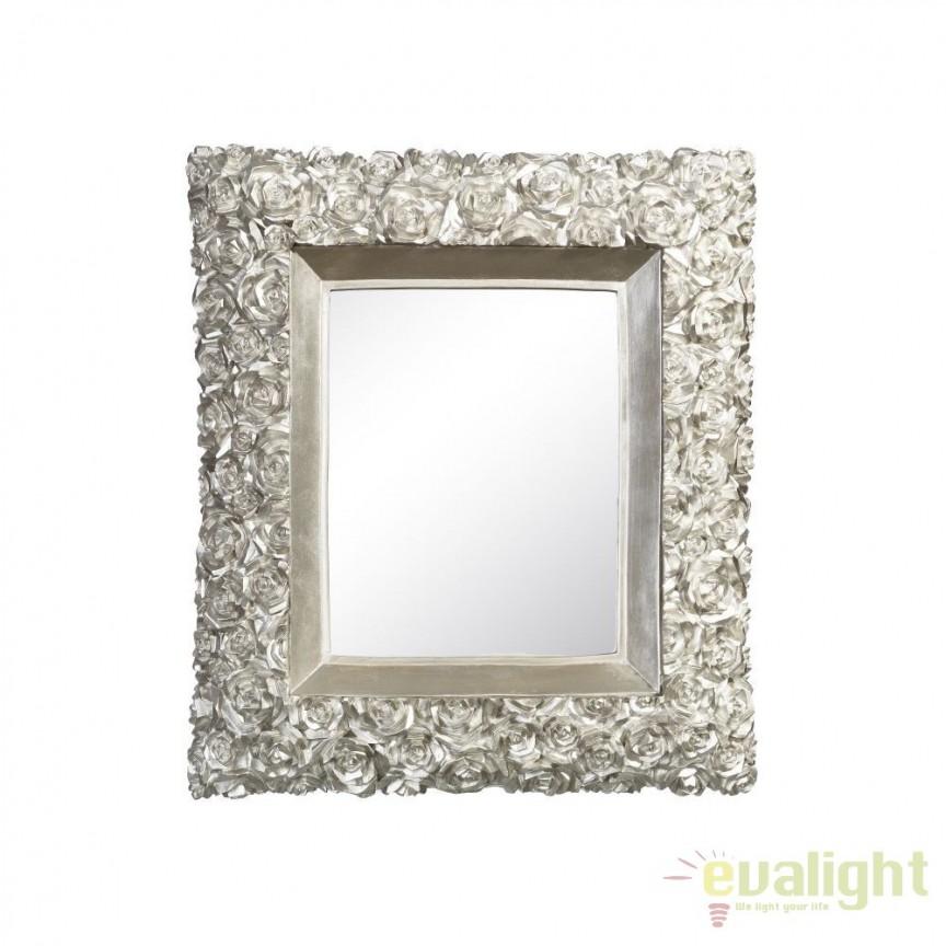 Oglinda de perete ROSAS 38x44cm, argintiu SX-100825, Oglinzi decorative, Corpuri de iluminat, lustre, aplice, veioze, lampadare, plafoniere. Mobilier si decoratiuni, oglinzi, scaune, fotolii. Oferte speciale iluminat interior si exterior. Livram in toata tara.  a