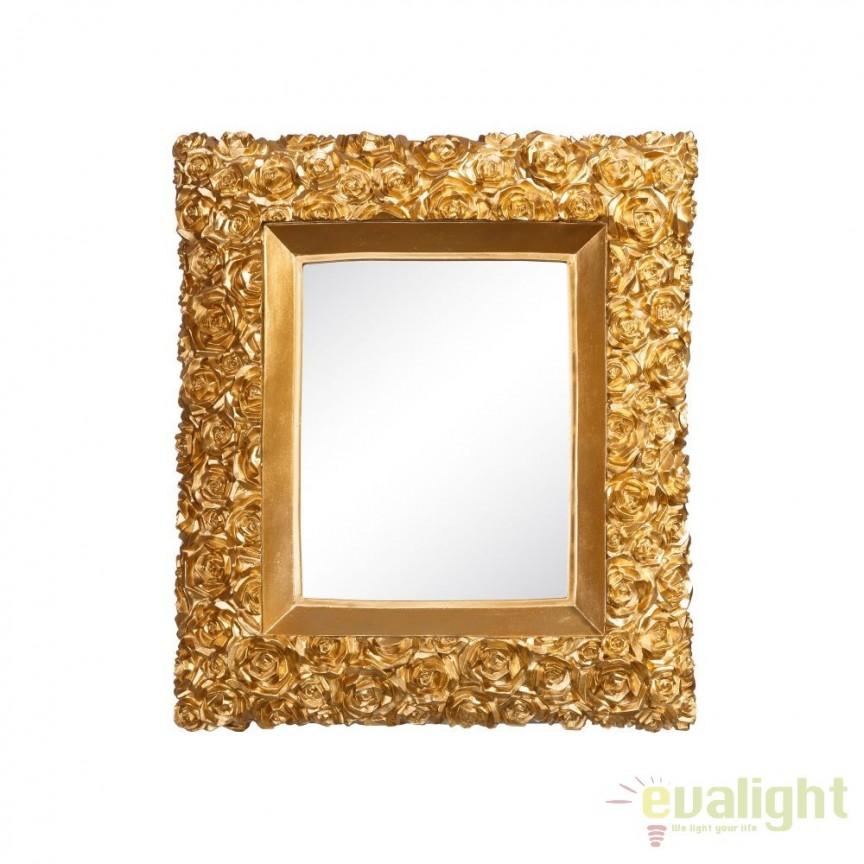 Oglinda de perete ROSAS 38x44cm, auriu SX-100826, Oglinzi decorative, Corpuri de iluminat, lustre, aplice, veioze, lampadare, plafoniere. Mobilier si decoratiuni, oglinzi, scaune, fotolii. Oferte speciale iluminat interior si exterior. Livram in toata tara.  a