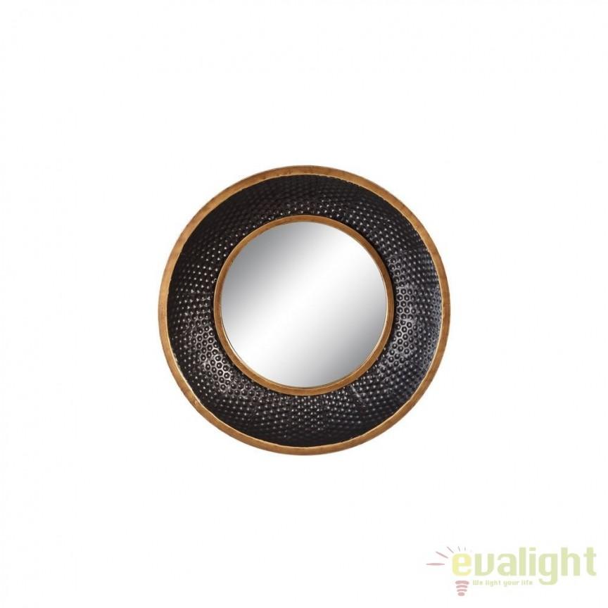 Oglinda de perete metal Negru- auriu, 41cm SX-102085, Oglinzi decorative, Corpuri de iluminat, lustre, aplice, veioze, lampadare, plafoniere. Mobilier si decoratiuni, oglinzi, scaune, fotolii. Oferte speciale iluminat interior si exterior. Livram in toata tara.  a