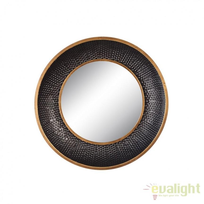 Oglinda de perete metal Negru- auriu, 55cm SX-102086, Oglinzi decorative, Corpuri de iluminat, lustre, aplice, veioze, lampadare, plafoniere. Mobilier si decoratiuni, oglinzi, scaune, fotolii. Oferte speciale iluminat interior si exterior. Livram in toata tara.  a