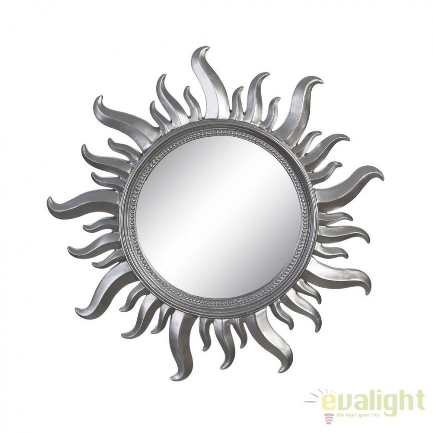 Oglinda de perete Sun 50cm, argintiu SX-102609, Oglinzi decorative, Corpuri de iluminat, lustre, aplice, veioze, lampadare, plafoniere. Mobilier si decoratiuni, oglinzi, scaune, fotolii. Oferte speciale iluminat interior si exterior. Livram in toata tara.  a
