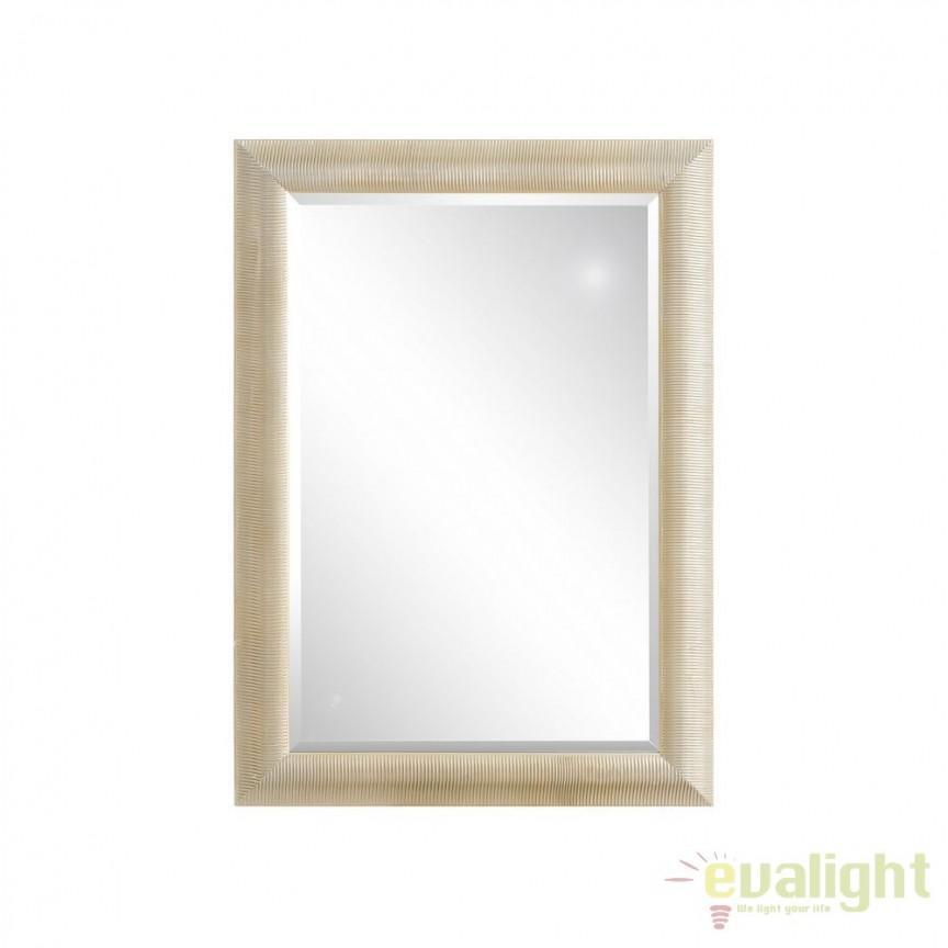 Oglinda de perete din lemn de paulownia Austin 76x106cm, argintiu SX-102365, Oglinzi decorative, Corpuri de iluminat, lustre, aplice, veioze, lampadare, plafoniere. Mobilier si decoratiuni, oglinzi, scaune, fotolii. Oferte speciale iluminat interior si exterior. Livram in toata tara.  a