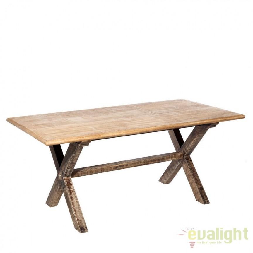 Masa design vintage din lemn de mango Berwick 175x90cm DZ-94916, Mese dining, Corpuri de iluminat, lustre, aplice, veioze, lampadare, plafoniere. Mobilier si decoratiuni, oglinzi, scaune, fotolii. Oferte speciale iluminat interior si exterior. Livram in toata tara.  a