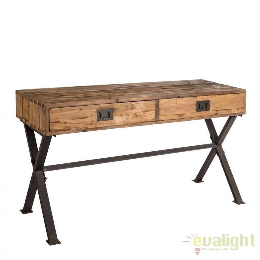 Birou design industrial-vintage din lemn de ulm Berwick DZ-92504, Console - Birouri, Corpuri de iluminat, lustre, aplice, veioze, lampadare, plafoniere. Mobilier si decoratiuni, oglinzi, scaune, fotolii. Oferte speciale iluminat interior si exterior. Livram in toata tara.  a