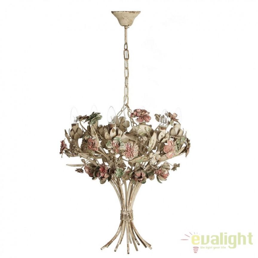 Candelabru design rustic antichizat floral Feliciana DZ- 80235, ILUMINAT INTERIOR RUSTIC, Corpuri de iluminat, lustre, aplice, veioze, lampadare, plafoniere. Mobilier si decoratiuni, oglinzi, scaune, fotolii. Oferte speciale iluminat interior si exterior. Livram in toata tara.  a