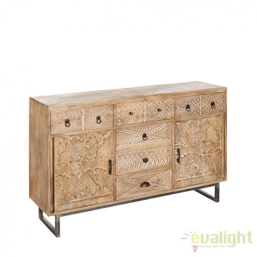 Comoda design rustic din lemn de mango Azucena DZ-94532, Dulapuri - Comode, Corpuri de iluminat, lustre, aplice, veioze, lampadare, plafoniere. Mobilier si decoratiuni, oglinzi, scaune, fotolii. Oferte speciale iluminat interior si exterior. Livram in toata tara.  a