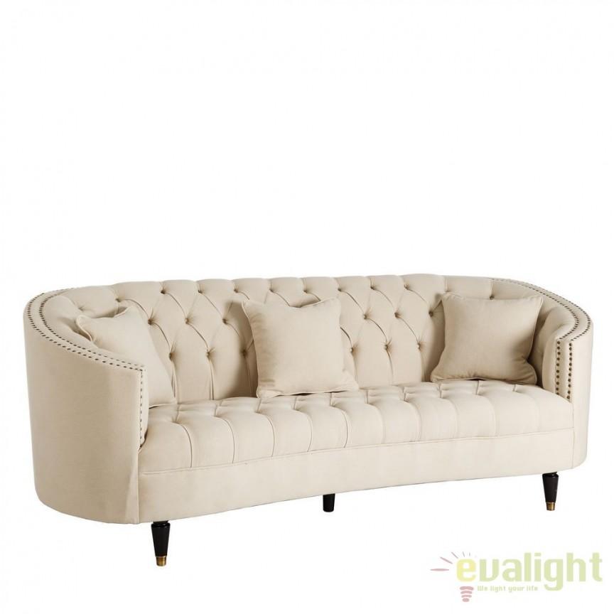 Canapea eleganta 3 locuri capitonata, Wilda bej DZ-101261, PROMOTII, Corpuri de iluminat, lustre, aplice, veioze, lampadare, plafoniere. Mobilier si decoratiuni, oglinzi, scaune, fotolii. Oferte speciale iluminat interior si exterior. Livram in toata tara.  a