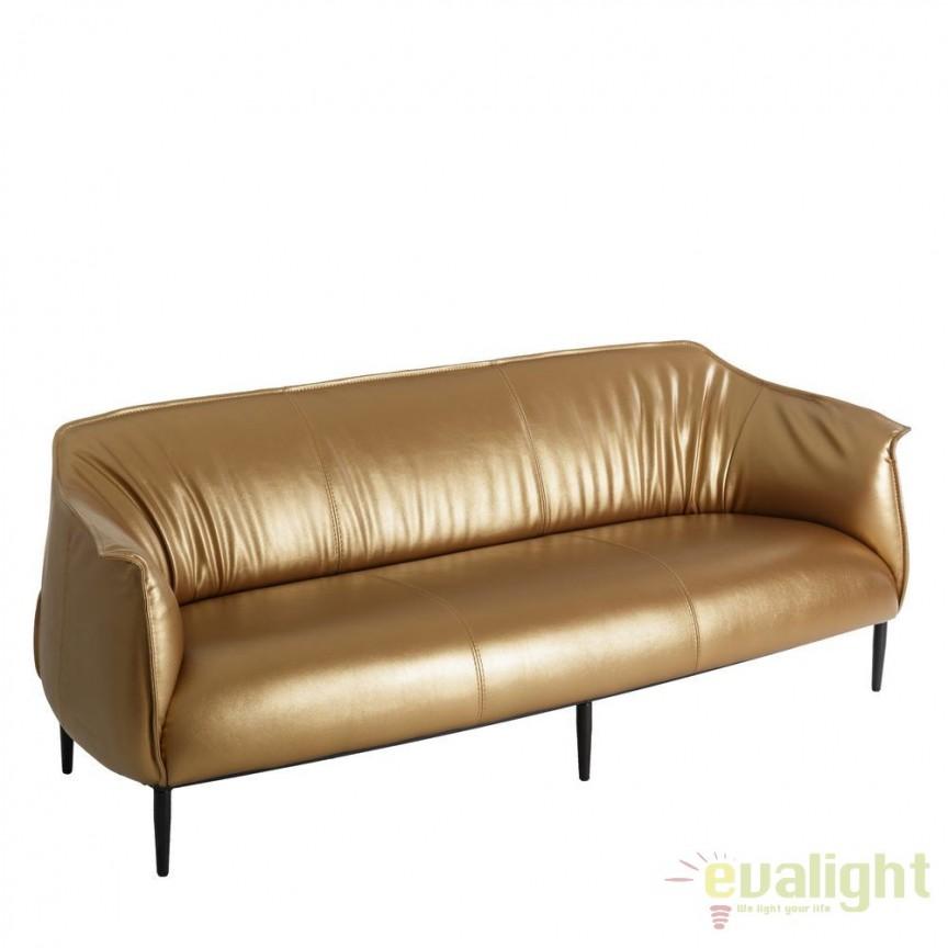 Canapea 3 locuri moderna cu tapiterie din piele sintetica Adaline auriu DZ-101750, Canapele - Coltare, Corpuri de iluminat, lustre, aplice, veioze, lampadare, plafoniere. Mobilier si decoratiuni, oglinzi, scaune, fotolii. Oferte speciale iluminat interior si exterior. Livram in toata tara.  a