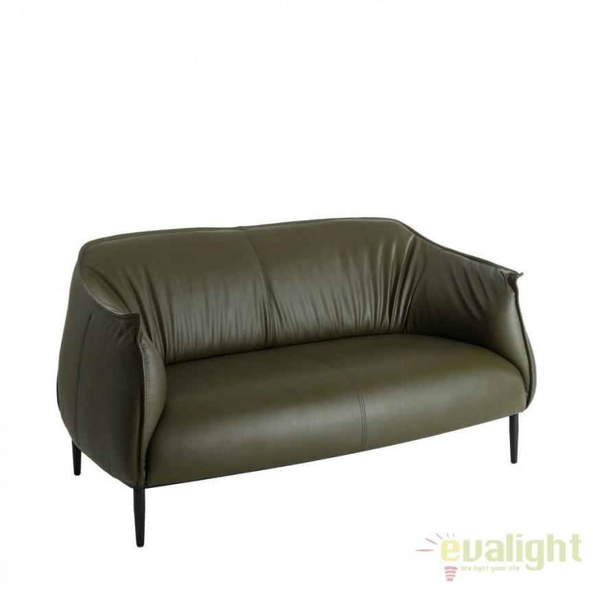 Canapea 2 locuri moderna cu tapiterie din piele sintetica Adaline verde DZ-101752, PROMOTII, Corpuri de iluminat, lustre, aplice, veioze, lampadare, plafoniere. Mobilier si decoratiuni, oglinzi, scaune, fotolii. Oferte speciale iluminat interior si exterior. Livram in toata tara.  a
