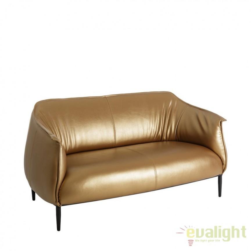 Canapea 2 locuri moderna cu tapiterie din piele sintetica Adaline auriu DZ-101749, Canapele - Coltare, Corpuri de iluminat, lustre, aplice, veioze, lampadare, plafoniere. Mobilier si decoratiuni, oglinzi, scaune, fotolii. Oferte speciale iluminat interior si exterior. Livram in toata tara.  a