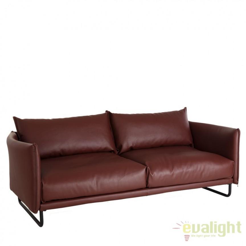 Canapea 3 locuri moderna, design LUX Alona maro DZ-101289, Canapele - Coltare, Corpuri de iluminat, lustre, aplice, veioze, lampadare, plafoniere. Mobilier si decoratiuni, oglinzi, scaune, fotolii. Oferte speciale iluminat interior si exterior. Livram in toata tara.  a