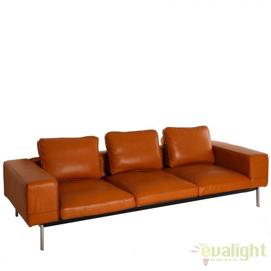 Canapea 3 locuri moderna, design LUX Antonia maro DZ-101290, Canapele - Coltare, Corpuri de iluminat, lustre, aplice, veioze, lampadare, plafoniere. Mobilier si decoratiuni, oglinzi, scaune, fotolii. Oferte speciale iluminat interior si exterior. Livram in toata tara.  a