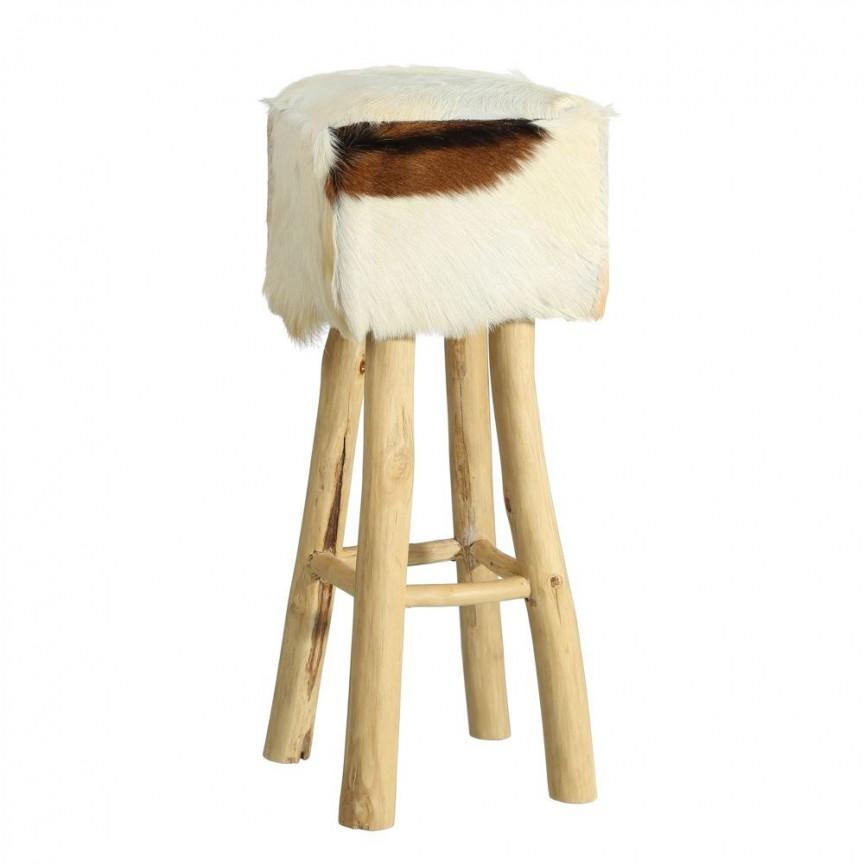 Taburete inalt design rustic din lemn de tec si piele naturala, Abram II DZ-90728 , Scaune de bar, Corpuri de iluminat, lustre, aplice, veioze, lampadare, plafoniere. Mobilier si decoratiuni, oglinzi, scaune, fotolii. Oferte speciale iluminat interior si exterior. Livram in toata tara.  a