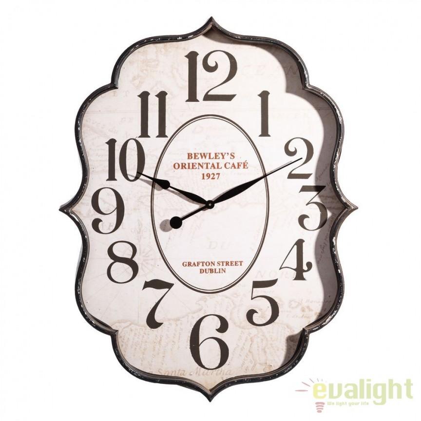 Ceas de perete Bewley 66x85cm, negru/ crem DZ-100300, Ceasuri de perete decorative, Corpuri de iluminat, lustre, aplice, veioze, lampadare, plafoniere. Mobilier si decoratiuni, oglinzi, scaune, fotolii. Oferte speciale iluminat interior si exterior. Livram in toata tara.  a