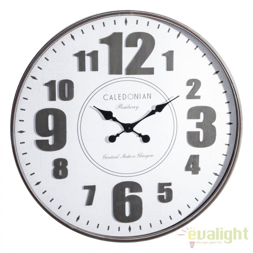 Ceas de perete Caledonian 80cm, negru/ alb DZ-100294, Ceasuri de perete decorative, Corpuri de iluminat, lustre, aplice, veioze, lampadare, plafoniere. Mobilier si decoratiuni, oglinzi, scaune, fotolii. Oferte speciale iluminat interior si exterior. Livram in toata tara.  a