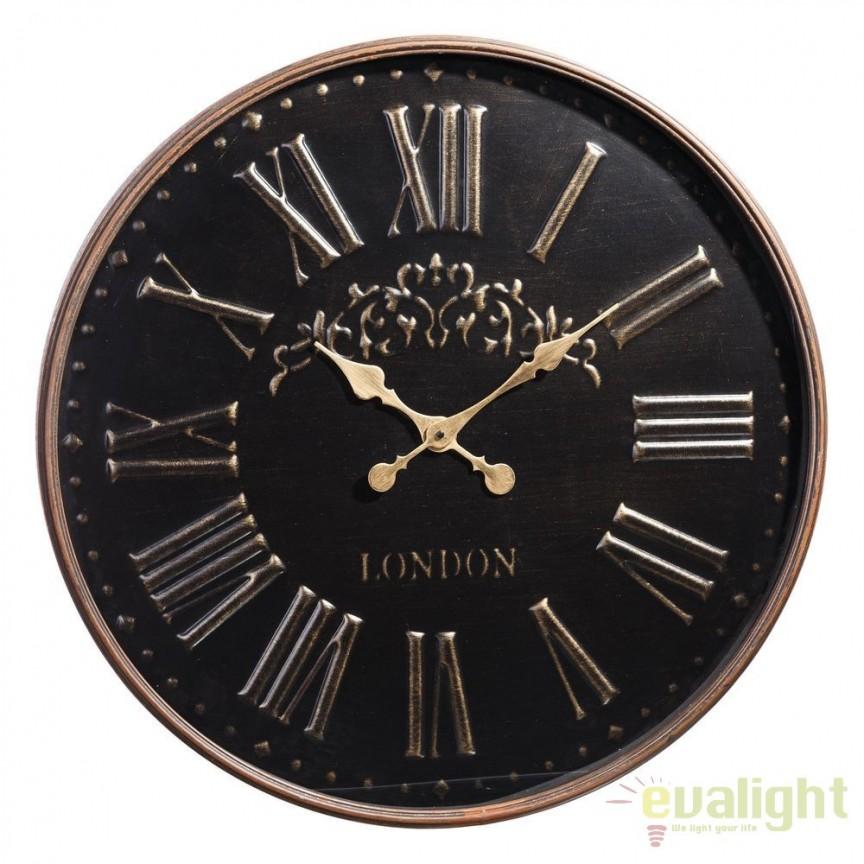 Ceas de perete London 74cm, negru/ auriu DZ-100293, Ceasuri de perete decorative, Corpuri de iluminat, lustre, aplice, veioze, lampadare, plafoniere. Mobilier si decoratiuni, oglinzi, scaune, fotolii. Oferte speciale iluminat interior si exterior. Livram in toata tara.  a