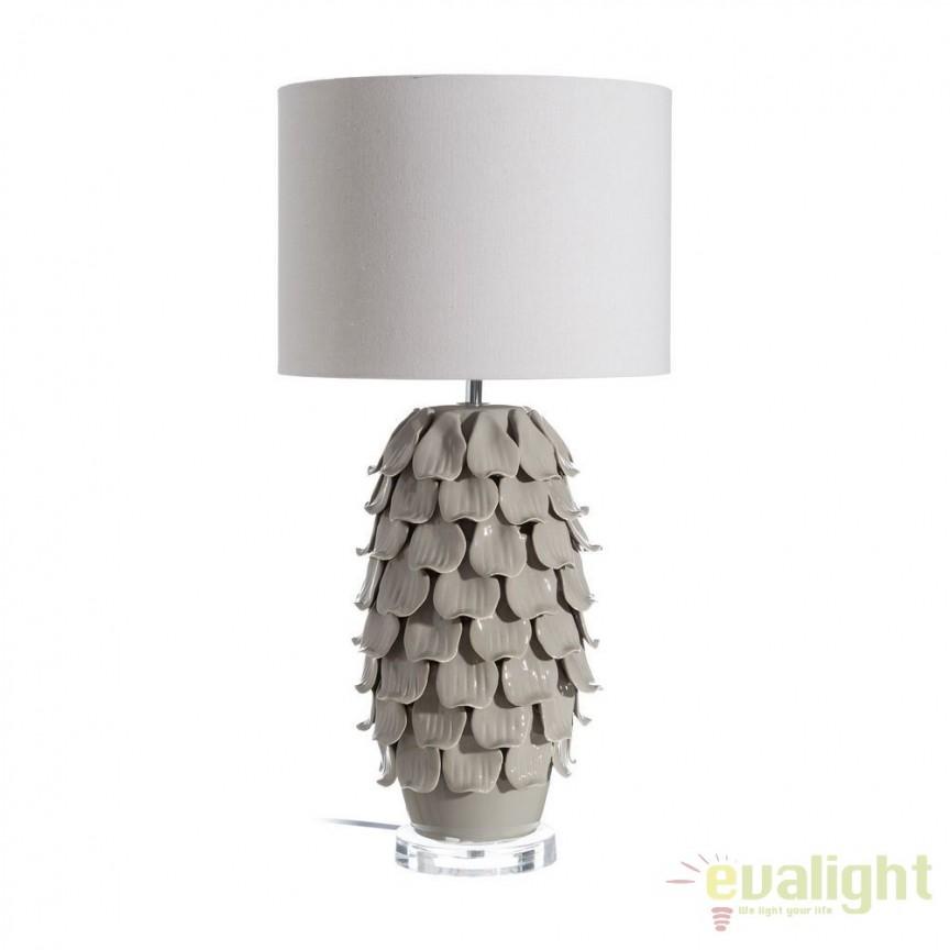 Veioza eleganta din ceramica gri Diann 71cm DZ-102520, CORPURI DE ILUMINAT INTERIOR MODERN, Corpuri de iluminat, lustre, aplice, veioze, lampadare, plafoniere. Mobilier si decoratiuni, oglinzi, scaune, fotolii. Oferte speciale iluminat interior si exterior. Livram in toata tara.  a