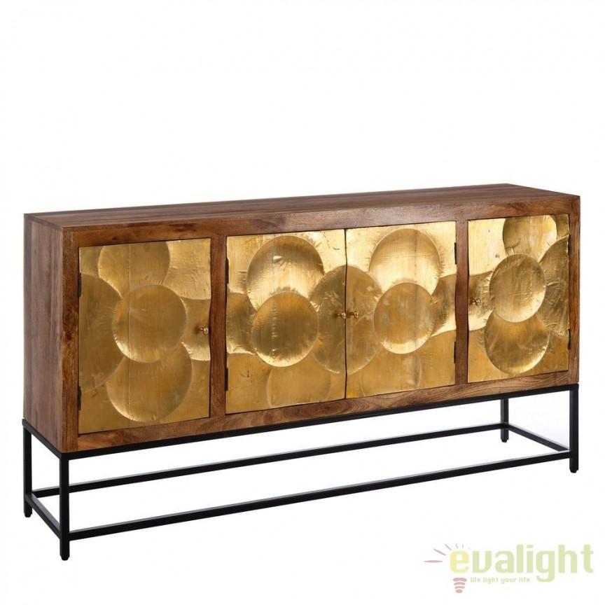 Comoda design vintage din lemn de mango si usi metalice aurii, Alfredia DZ-94518, Dulapuri - Comode, Corpuri de iluminat, lustre, aplice, veioze, lampadare, plafoniere. Mobilier si decoratiuni, oglinzi, scaune, fotolii. Oferte speciale iluminat interior si exterior. Livram in toata tara.  a