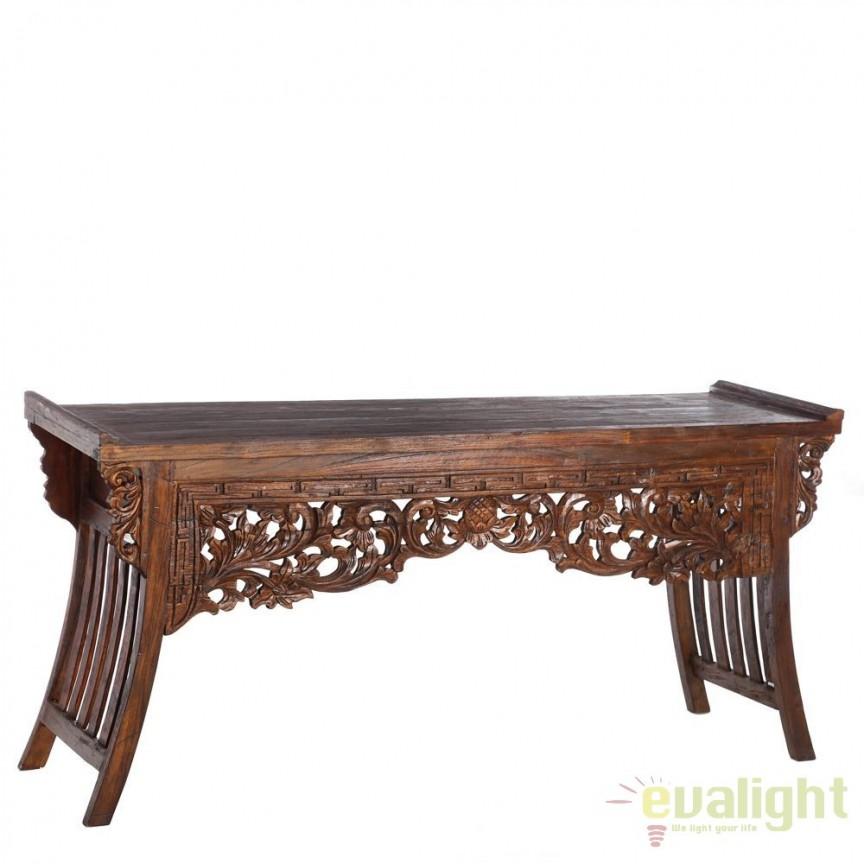 Consola design rustic din lemn de tec reciclat Athena DZ-90737, Console - Birouri, Corpuri de iluminat, lustre, aplice, veioze, lampadare, plafoniere. Mobilier si decoratiuni, oglinzi, scaune, fotolii. Oferte speciale iluminat interior si exterior. Livram in toata tara.  a