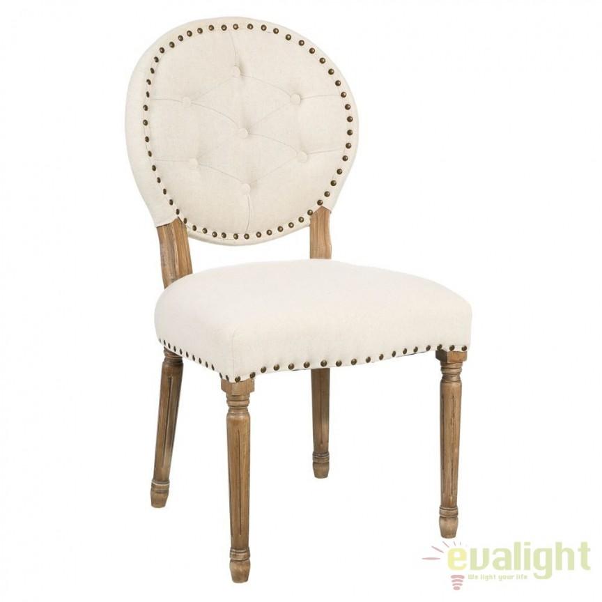 Set de 2 scaune elegante cu spatar in forma de medalion Arnulfo crem DZ-90891, Seturi scaune dining, scaune HoReCa, Corpuri de iluminat, lustre, aplice, veioze, lampadare, plafoniere. Mobilier si decoratiuni, oglinzi, scaune, fotolii. Oferte speciale iluminat interior si exterior. Livram in toata tara.  a