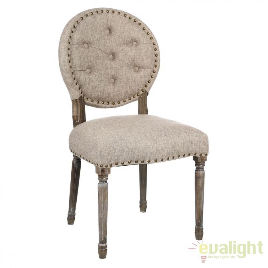 Set de 2 scaune elegante cu spatar in forma de medalion Arnulfo gri DZ-90892, Seturi scaune dining, scaune HoReCa, Corpuri de iluminat, lustre, aplice, veioze, lampadare, plafoniere. Mobilier si decoratiuni, oglinzi, scaune, fotolii. Oferte speciale iluminat interior si exterior. Livram in toata tara.  a