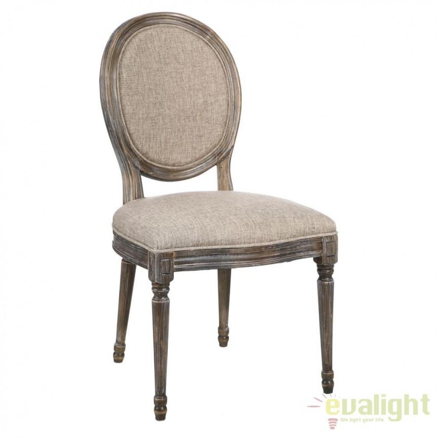 Set de 2 scaune elegante cu spatar in forma de medalion Arnulfo I gri DZ-90894, Seturi scaune dining, scaune HoReCa, Corpuri de iluminat, lustre, aplice, veioze, lampadare, plafoniere. Mobilier si decoratiuni, oglinzi, scaune, fotolii. Oferte speciale iluminat interior si exterior. Livram in toata tara.  a