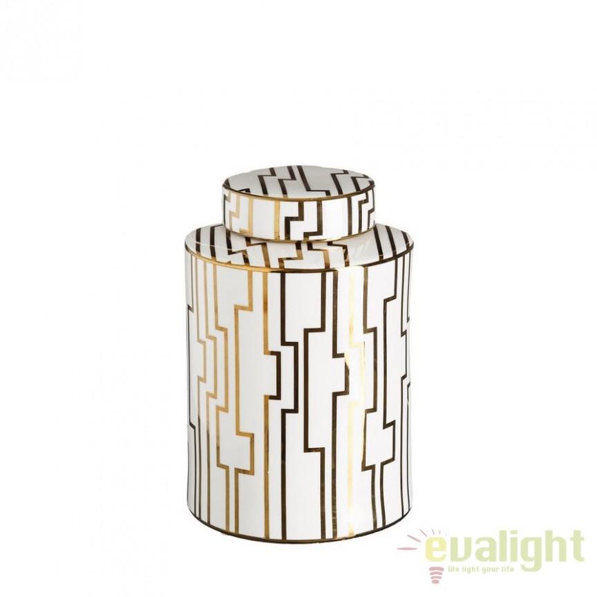 Vas decorativ din ceramica Allena 31cm, alb/ auriu DZ-102850, Vaze, Ghivece decorative, Corpuri de iluminat, lustre, aplice, veioze, lampadare, plafoniere. Mobilier si decoratiuni, oglinzi, scaune, fotolii. Oferte speciale iluminat interior si exterior. Livram in toata tara.  a