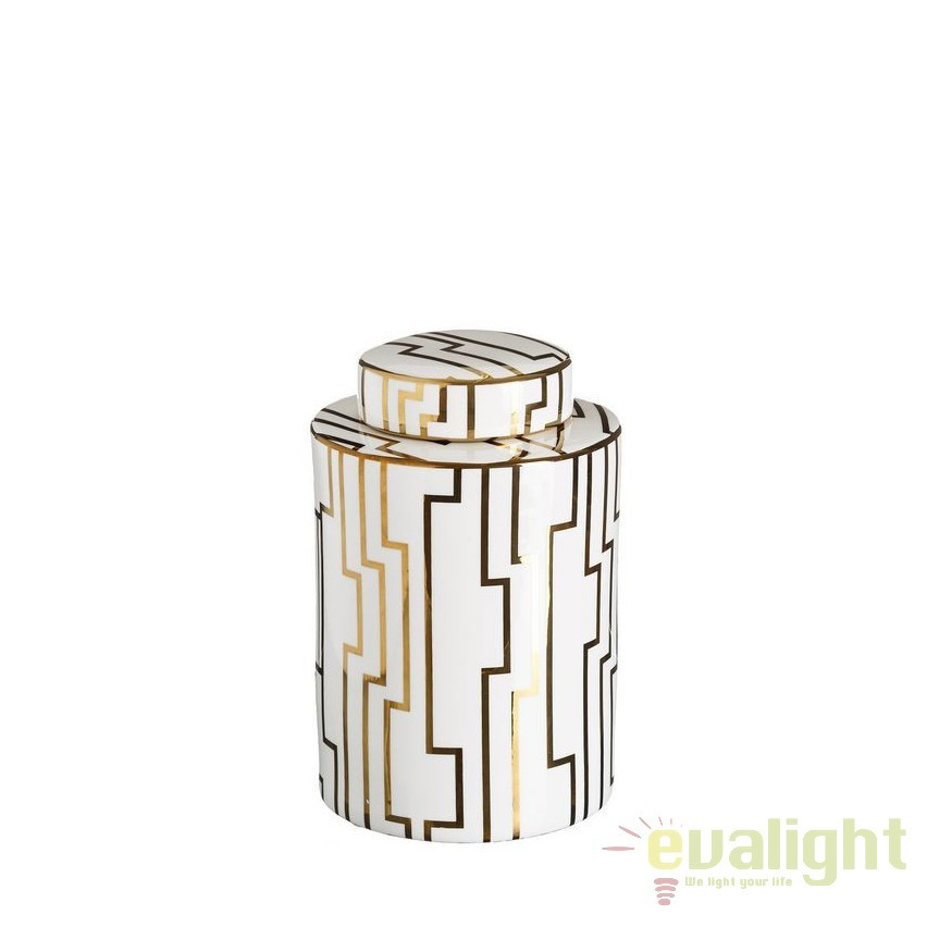 Vas decorativ din ceramica Allena 26cm, alb/ auriu DZ-102849, Vaze, Ghivece decorative, Corpuri de iluminat, lustre, aplice, veioze, lampadare, plafoniere. Mobilier si decoratiuni, oglinzi, scaune, fotolii. Oferte speciale iluminat interior si exterior. Livram in toata tara.  a