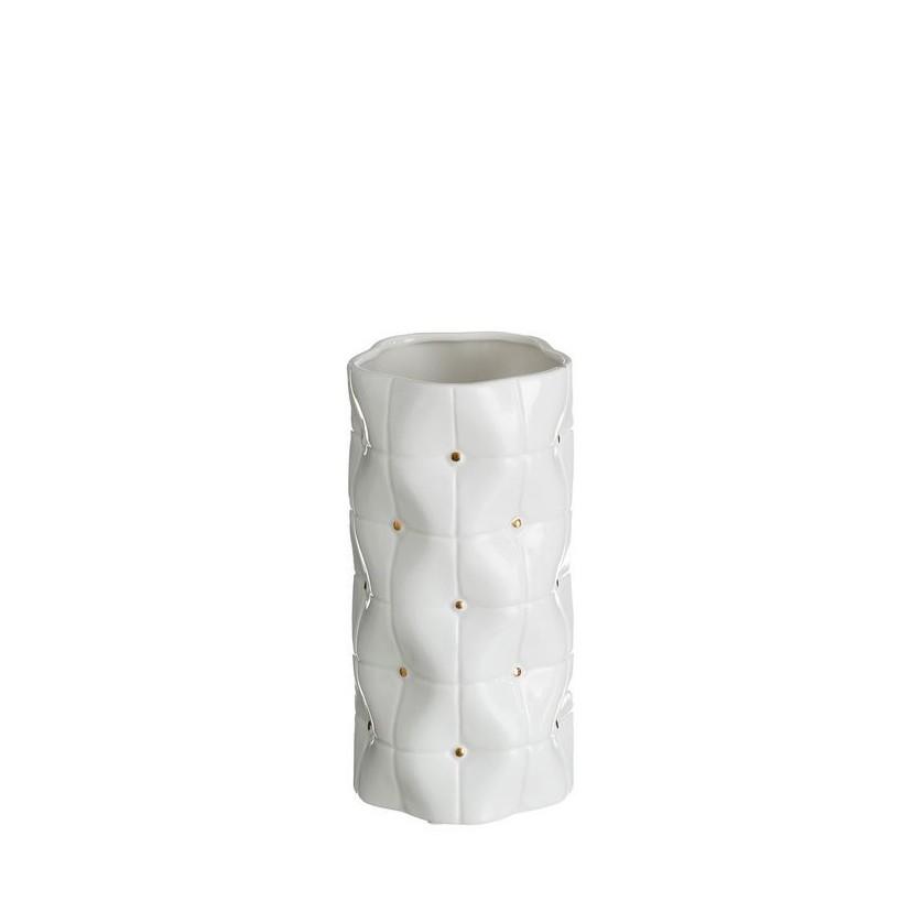 Vaza din ceramica Abbey 25cm, alb/ auriu DZ-102851, Vaze, Ghivece decorative, Corpuri de iluminat, lustre, aplice, veioze, lampadare, plafoniere. Mobilier si decoratiuni, oglinzi, scaune, fotolii. Oferte speciale iluminat interior si exterior. Livram in toata tara.  a