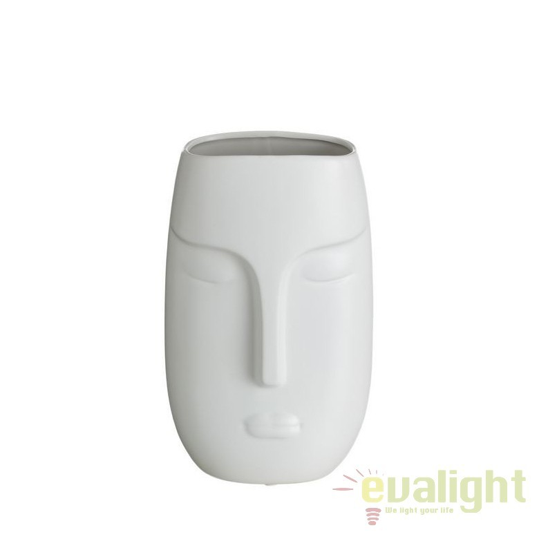 Vaza din ceramica alba Masca 30cm DZ-102866, Vaze, Ghivece decorative, Corpuri de iluminat, lustre, aplice, veioze, lampadare, plafoniere. Mobilier si decoratiuni, oglinzi, scaune, fotolii. Oferte speciale iluminat interior si exterior. Livram in toata tara.  a
