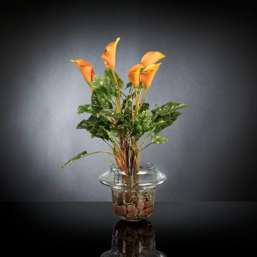 Aranjament floral design LUX ALFEO CALLA TRIS portocaliu, Aranjamente florale LUX, Corpuri de iluminat, lustre, aplice, veioze, lampadare, plafoniere. Mobilier si decoratiuni, oglinzi, scaune, fotolii. Oferte speciale iluminat interior si exterior. Livram in toata tara.  a