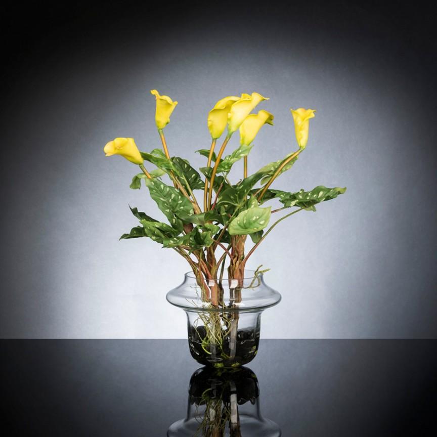 Aranjament floral design LUX ALFEO CALLA TRIS galben, Aranjamente florale LUX, Corpuri de iluminat, lustre, aplice, veioze, lampadare, plafoniere. Mobilier si decoratiuni, oglinzi, scaune, fotolii. Oferte speciale iluminat interior si exterior. Livram in toata tara.  a