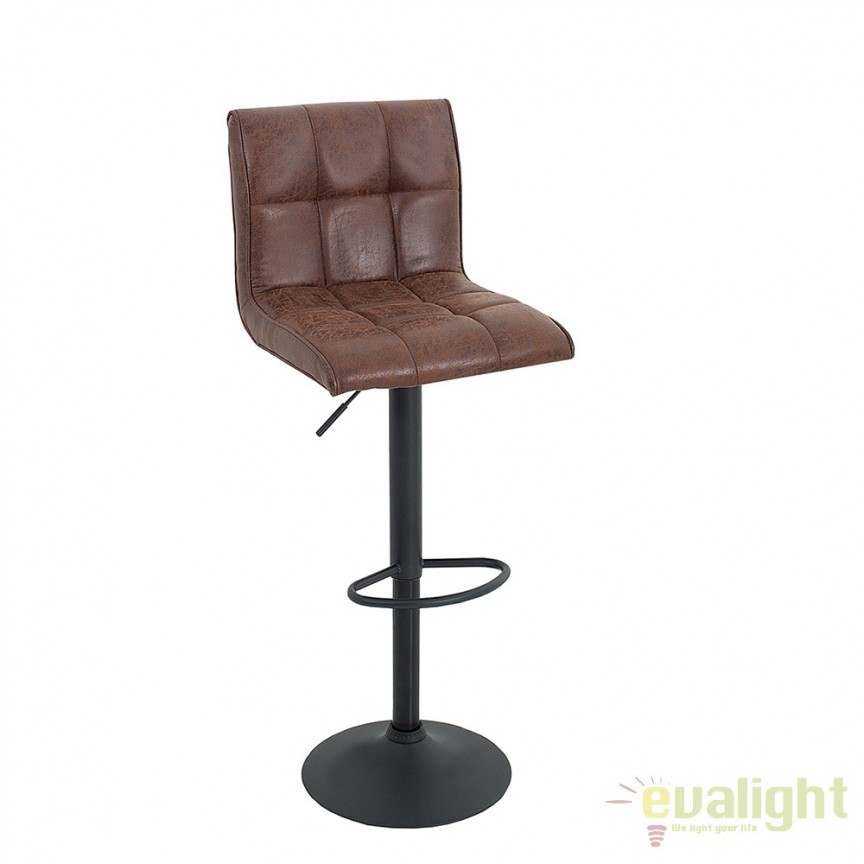 Set 2 scaune bar pivotante, tapiterie microfibra Modena maro vintage A-37937 VC,  a
