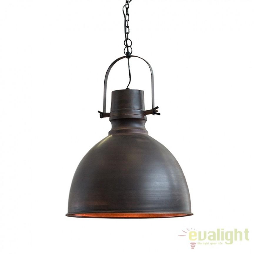 Lustra retro industrial Craft XL 40cm negru/ cupru A-37479 VC, Scaune de bar, Corpuri de iluminat, lustre, aplice, veioze, lampadare, plafoniere. Mobilier si decoratiuni, oglinzi, scaune, fotolii. Oferte speciale iluminat interior si exterior. Livram in toata tara.  a
