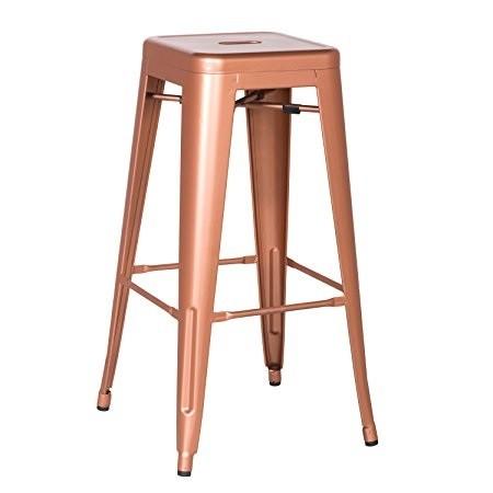 Set 4 scaune de bar design industrial TOL-RG auriu rosiatic 403.TTOLRG SDM, Scaune de bar, Corpuri de iluminat, lustre, aplice, veioze, lampadare, plafoniere. Mobilier si decoratiuni, oglinzi, scaune, fotolii. Oferte speciale iluminat interior si exterior. Livram in toata tara.  a