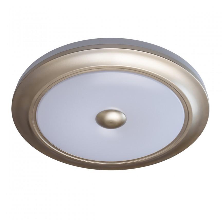 Plafoniera LED cu telecomanda Ezra aurie MW 688010301, Lampi LED si Telecomanda, Corpuri de iluminat, lustre, aplice, veioze, lampadare, plafoniere. Mobilier si decoratiuni, oglinzi, scaune, fotolii. Oferte speciale iluminat interior si exterior. Livram in toata tara.  a