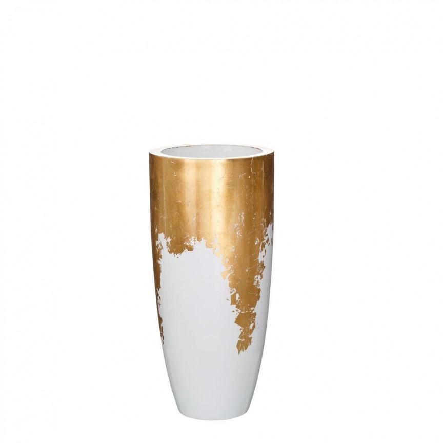 Vaza, Vas decorativ din polirasina, inaltime 75cm Adah, alb /auriu SX-102579, Vaze, Ghivece decorative, Corpuri de iluminat, lustre, aplice, veioze, lampadare, plafoniere. Mobilier si decoratiuni, oglinzi, scaune, fotolii. Oferte speciale iluminat interior si exterior. Livram in toata tara.  a