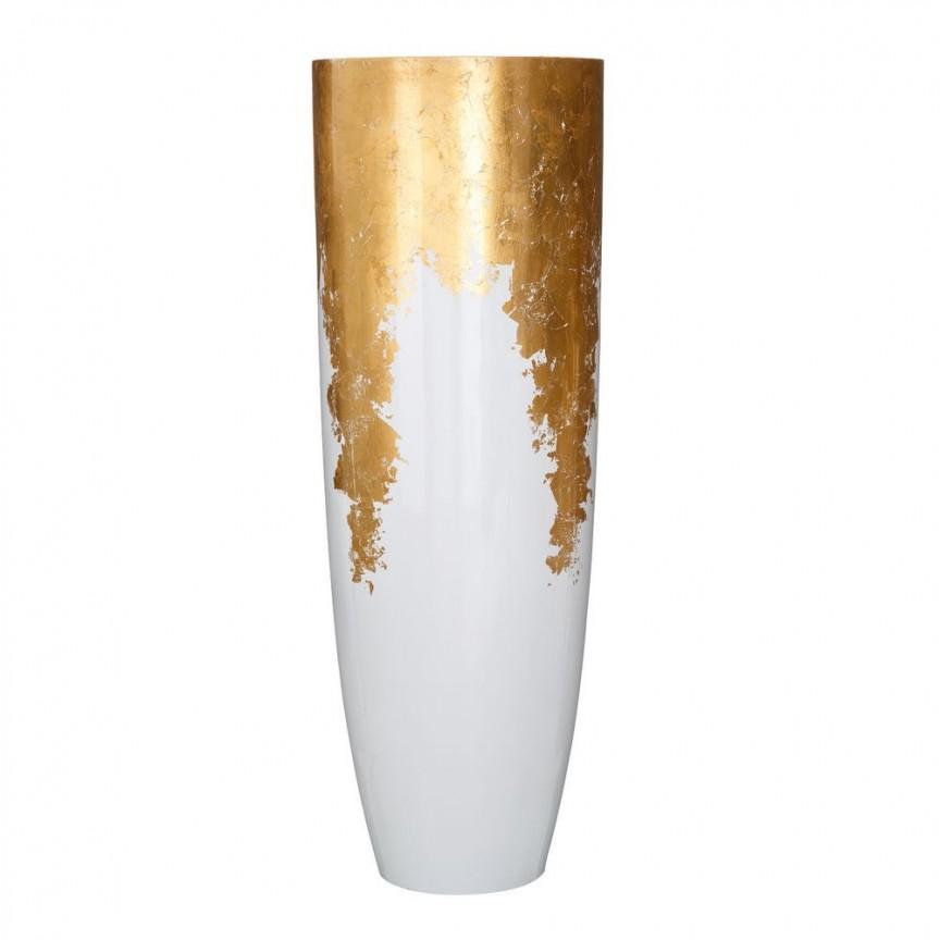 Vaza, Vas decorativ din polirasina, inaltime 115cm Adah, alb /auriu SX-102581, Vaze, Ghivece decorative, Corpuri de iluminat, lustre, aplice, veioze, lampadare, plafoniere. Mobilier si decoratiuni, oglinzi, scaune, fotolii. Oferte speciale iluminat interior si exterior. Livram in toata tara.  a