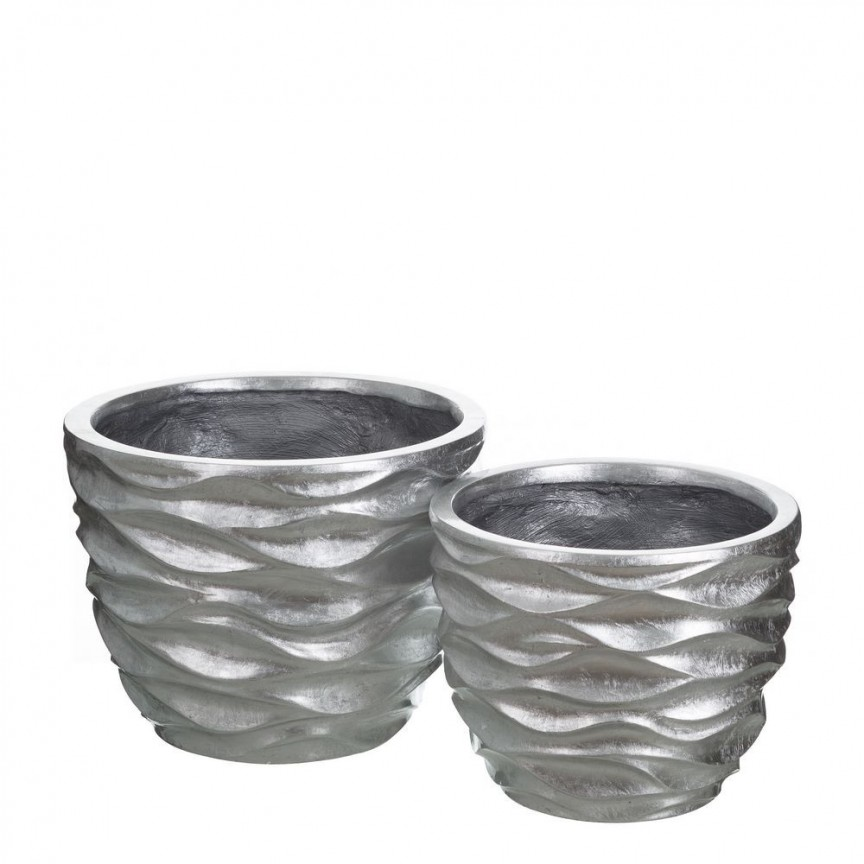 Set 2 vase decorative argintii din polirasina, Plata SX-102585, Vaze, Ghivece decorative, Corpuri de iluminat, lustre, aplice, veioze, lampadare, plafoniere. Mobilier si decoratiuni, oglinzi, scaune, fotolii. Oferte speciale iluminat interior si exterior. Livram in toata tara.  a