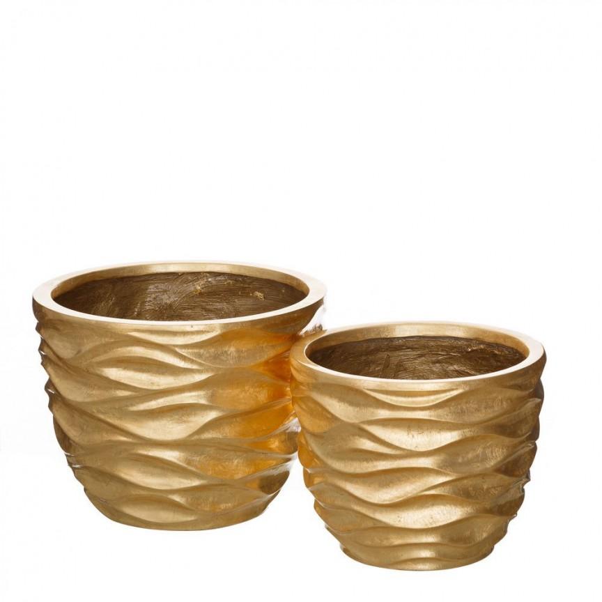 Set 2 vase decorative aurii din polirasina, ORO SX-102582, Vaze, Ghivece decorative, Corpuri de iluminat, lustre, aplice, veioze, lampadare, plafoniere. Mobilier si decoratiuni, oglinzi, scaune, fotolii. Oferte speciale iluminat interior si exterior. Livram in toata tara.  a