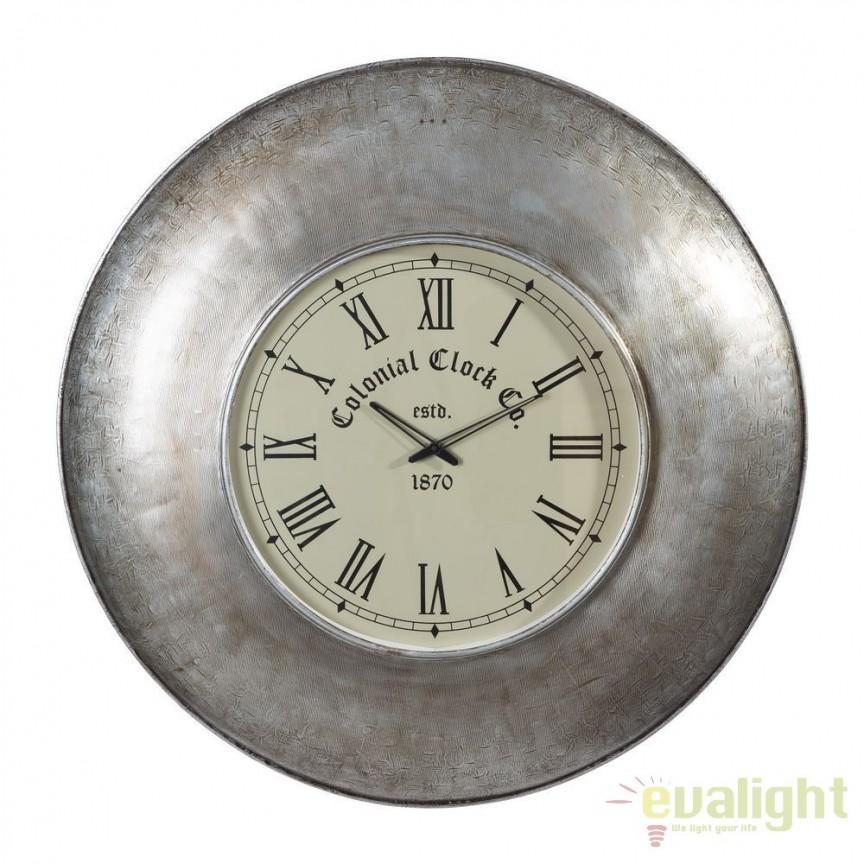 Ceas de perete Colonial Clock 82cm, nickel antic SX-94595, Ceasuri de perete decorative, Corpuri de iluminat, lustre, aplice, veioze, lampadare, plafoniere. Mobilier si decoratiuni, oglinzi, scaune, fotolii. Oferte speciale iluminat interior si exterior. Livram in toata tara.  a