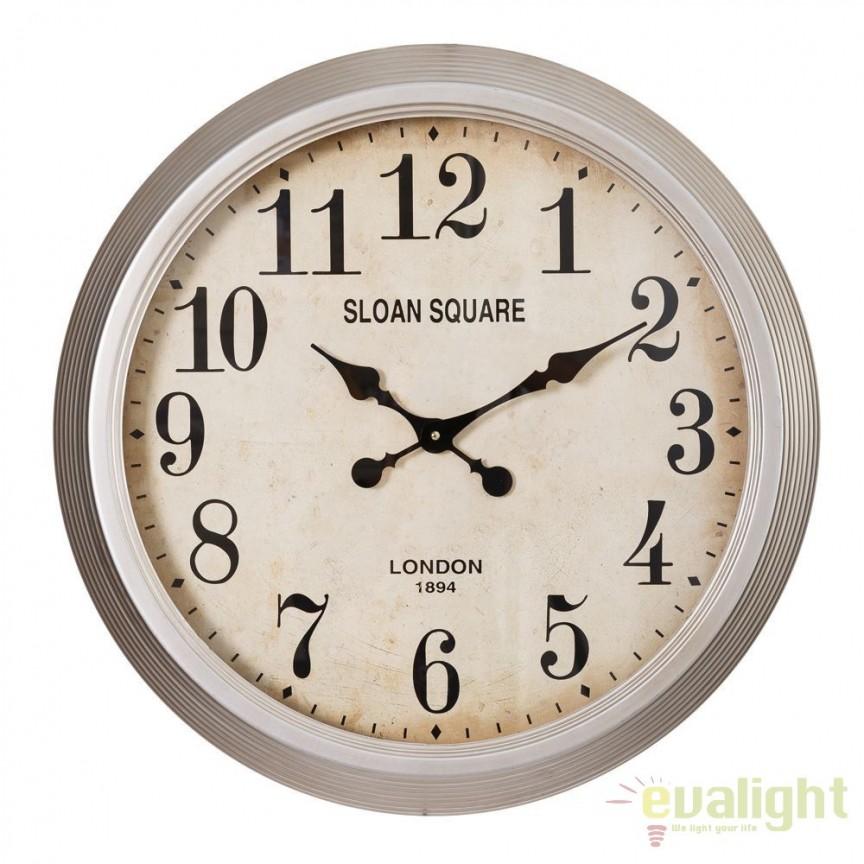 Ceas de perete metalic Sloan Square, 60cm SX-91494, Ceasuri de perete decorative, Corpuri de iluminat, lustre, aplice, veioze, lampadare, plafoniere. Mobilier si decoratiuni, oglinzi, scaune, fotolii. Oferte speciale iluminat interior si exterior. Livram in toata tara.  a