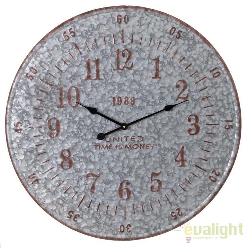 Ceas de perete metalic Time is money, 80cm SX-91490, Ceasuri de perete decorative, Corpuri de iluminat, lustre, aplice, veioze, lampadare, plafoniere. Mobilier si decoratiuni, oglinzi, scaune, fotolii. Oferte speciale iluminat interior si exterior. Livram in toata tara.  a